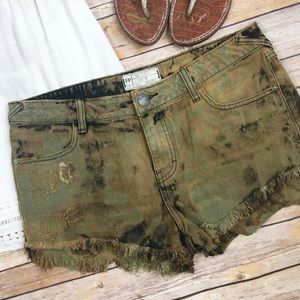 Free People Distressed Tie Dye Washed Shorts